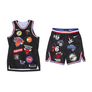 Supreme x Nike x NBA Satin Warm-Up basketball jersey shorts hip-hop suit black
