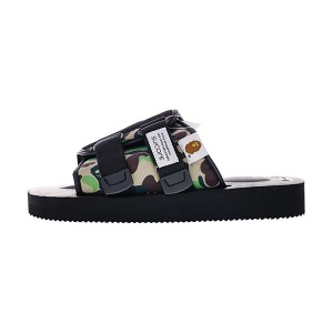 A Bathing APE x Suicoke Kaw-VS/Kisee Slipper men and women sandals black camo