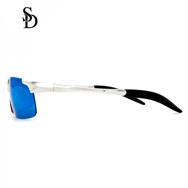 Sodear luxury sunglasses fashion men's torism sunglasses sliver frame blue lens