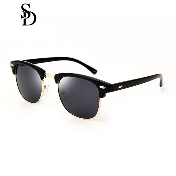 Sodear alloy polarized sunglasses women and men leisure sunglasses black gray