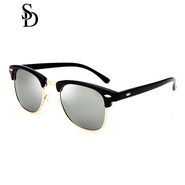 Sodear alloy polarized sunglasses women and men leisure sunglasses black sliver