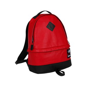 Supreme x The North Face Leather Day Pack leisure shoulder bag red black