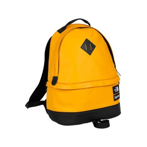 Supreme x The North Face Leather Day Pack leisure shoulder bag yellow black