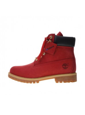 Atoms x Timberland Premium 6 Inch Leather Boots For Man And Woman Red